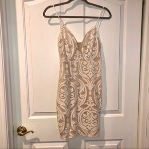 White and Nude Patterned Dress | Charlotte Russe